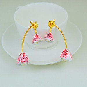 Tory Burch Pink Natural Resin Flower Earrings